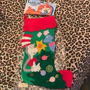 Felt Stocking Cat in the Hat Dr. Seuss Like New